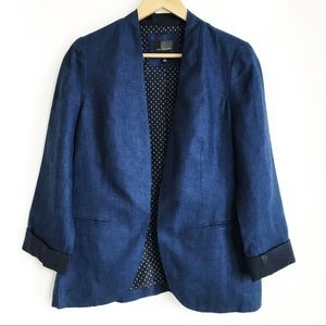 THE LIMITED Dark Blue Navy Linen Blazer